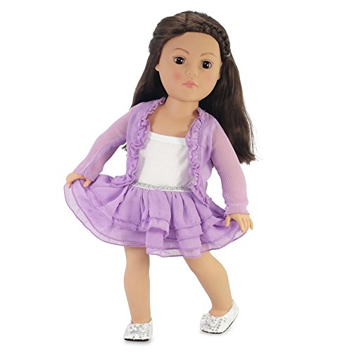 18 Inch Doll Clothes Purple Cardigan Tutu Style Skirt Outfit with Silver Sequined Shoes Fits American Girl Dolls | Gift-boxed! (Rose Doll Shoes)