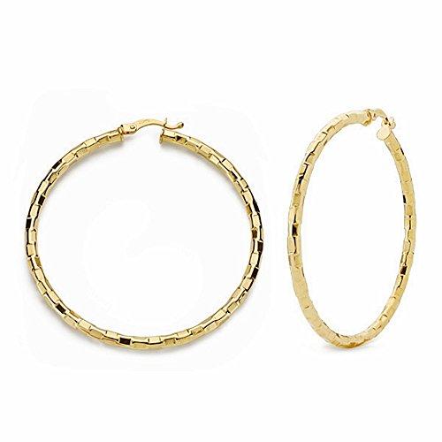 Boucled'oreille 44mm 18k anneaux d'or. tables sculptées creuses [AA1642]