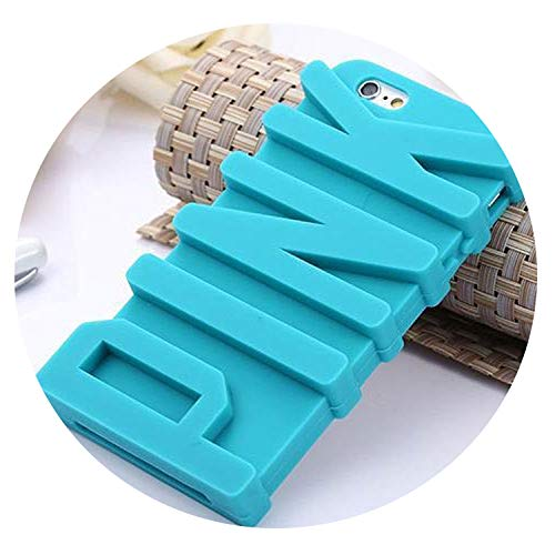 3D Pink Letter Soft Silicone Rubber Phone Case for iPhone X 5 5S SE 8 7Plus 6 6S 10 Plus Back Covers Mobile Phone Case Capa,Sky Blue,for iPhone 8plus