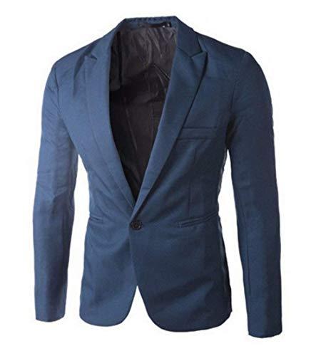 Slim Lavoro Tempo Corta Blazer A Stile Uomo Giacca Fit Bottone Blau2 Libero Per Semplice Da Un Il Banchetti ExOvqF