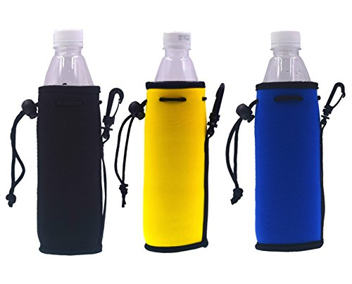 16.9OZ Neoprene Water Bottle Drawstring Insulator Cooler/ Sleeve/ bag/Coolie/Holder/Huggie- 3 Pack