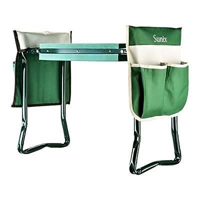 Amforo Portable Garden Kneeler and Seat, Garden Kneeler with 2 Large Tool Pouch, Soft EVA Foam Kneeling Pad Outdoor Lightweight and Practical Kneeler for Gardening