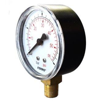 Industrial 63mm Hydraulic Pressure Gauge Manometer 6 bar vertical 1//4 by Ferro