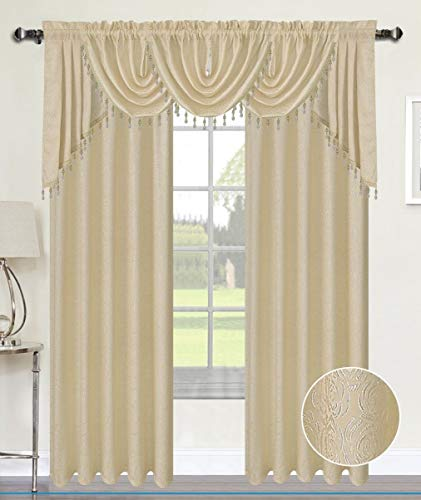 (Luxury Home Textiles Angelina Damask 7 Piece Curtain, Beaded Austrian VALANCES and Swag Set, Beige)