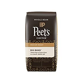 Peet's Coffee, Big Bang, Medium Roast, Whole Bean Coffee, 12 oz. Bag, Brilliant, Bright Blend of Ethiopian Super Natural Coffee, Medium Bodied, Aromatic & Fruity with Citrus Notes