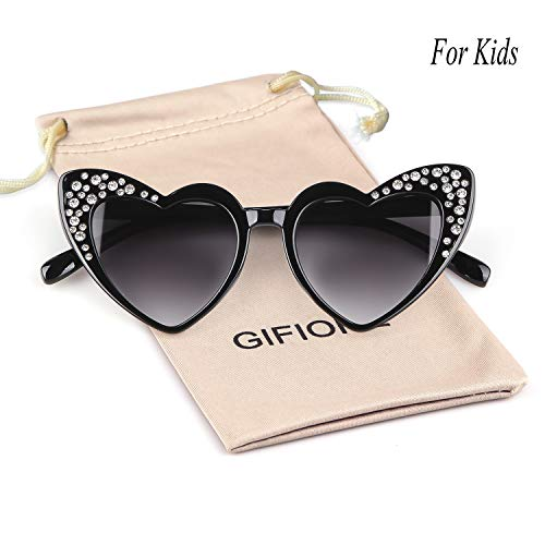 Price comparison product image Clout Goggle Heart Sunglasses Vintage Cat Eye Mod Style Retro Kurt Cobain Glasses (Black(Kids))