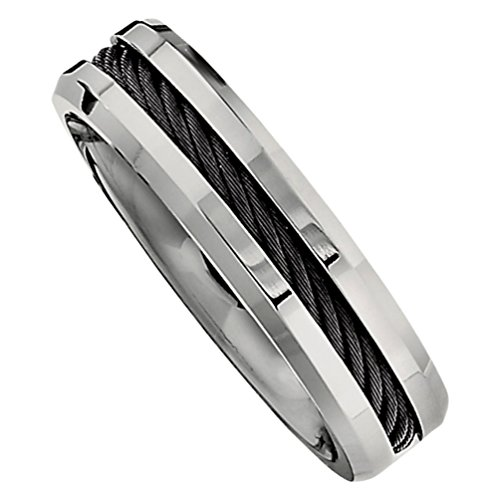 Titanium and Black Cable 6mm Comfort Fit Band, Size 10.5 by The Men's Jewelry Store