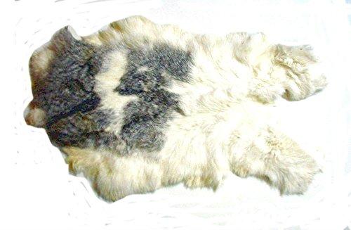XX-Large Two Tone White Rabbit Skin Pelt Fur -