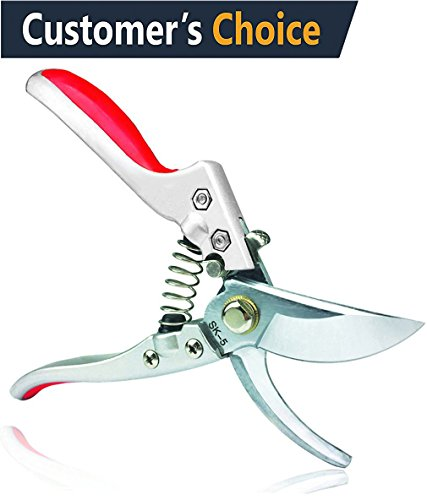 TILLAIN Professional Pruning Shears Silicone Handle Scissors Bypass Pruners Gardening Cutters Tools SK-5 Steel Blade Clippers Tree Trimmer Efficient Rope Snips