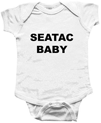 SEATAC BABY - City Series - White Baby One Piece Bodysuit / Baby T-shirt - size Small (6-12M)]()