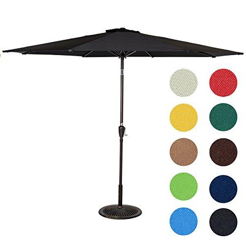 Sundale Outdoor 9 Feet Aluminum Patio Umbrella with Crank and Push Button Tilt, 8 Steel Ribs (Black)