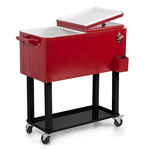Belleze Rolling Ice Chest Portable Patio Drink Party Cooler Cart, 80-Quart, Red