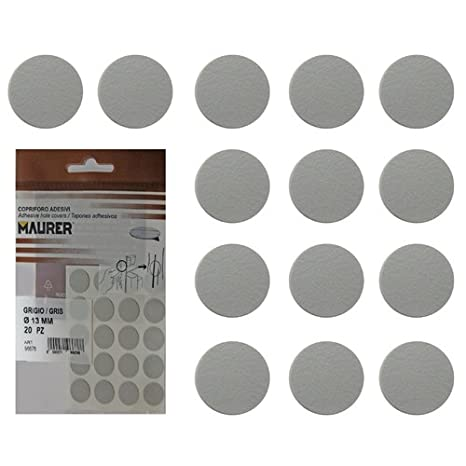 Maurer 5440102 Tapatornillos Adhesivos Gris (Blister 20 unidades)