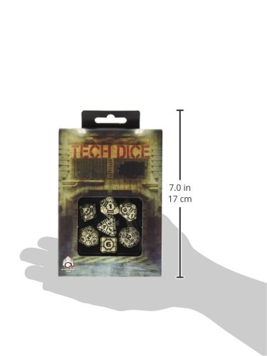 Q WORKSHOP QWOTEC18 Qworkshop 7 Piece Tech Dice Set, Beige and Black, Multi-Color 5