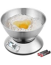 Uten Bilancia Cucina Digitale, Bilancia con Ciotola in Acciaio Inossidabile Alta Precisione Display LCD 5kg 2 Litri, Colore Argento