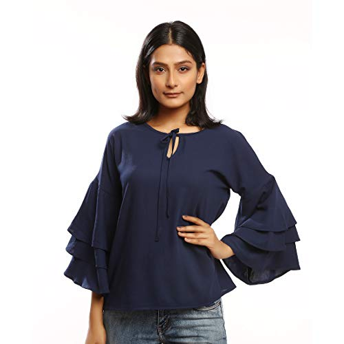 Rimsha Wear Party Layered Sleeve Solid Women Blue Top