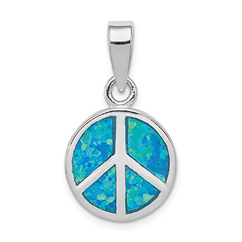 (925 Sterling Silver Blue Inlay Created Opal Peace Sign Pendant Charm Necklace Fine Jewelry Gifts For Women For Her)