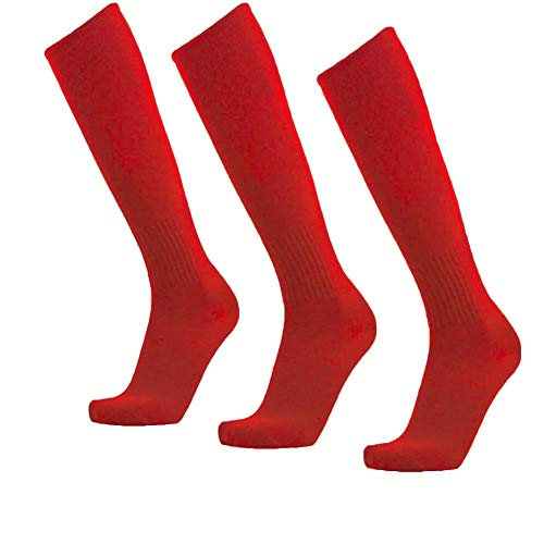 (Unisex Athletic Knee High Breathable Compression Solid Tube Soccer Football Sport Socks 3/12 Pairs … (Red-Unisex 3 pairs))