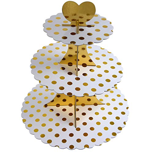3-Tier Cardboard Cupcake Stand/Tower 1-Set (Gold Dot)