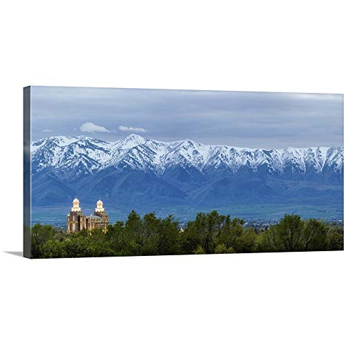 GREATBIGCANVAS Gallery-Wrapped Canvas Entitled Logan Utah Temple and Wellsville Mountains, Logan, Utah by Scott Jarvie 36