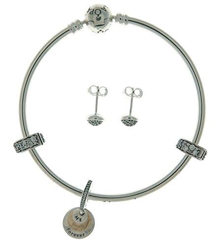 Bangle Earrings Gold 14k - PANDORA Silver & 14K Gold Bangle Earrings & Charms Gift Set B800747-19