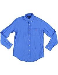 Mens Button Up Long Sleeve Linen Shirt