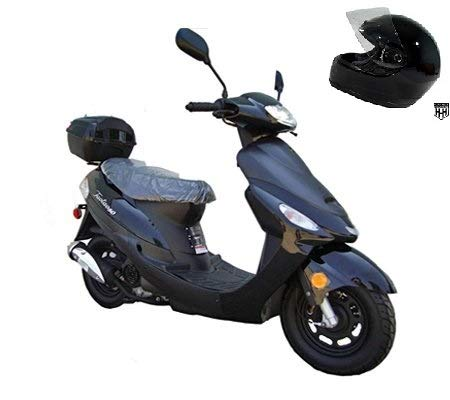 SMART DEALSNOW Brings Brand New 50cc Gas Fully Automatic Street Legal Scooter TaoTao ATM50-A1 with DOT approved HELMET Included - Sporty Black