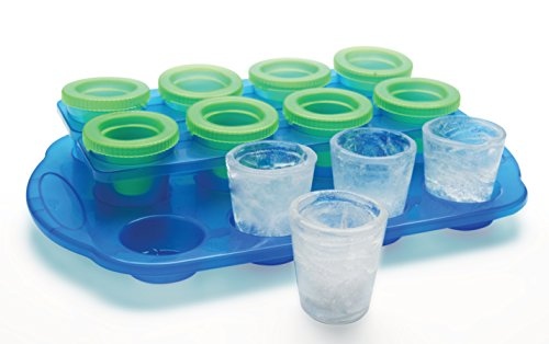 Barbuzzo Ice Shot Glasses - 12 Mini Ice Glasses and 1 Serving Tray, Reusable - Fill with Water, Fruit Punch, Soda, Jelly, then Freeze and Pour!