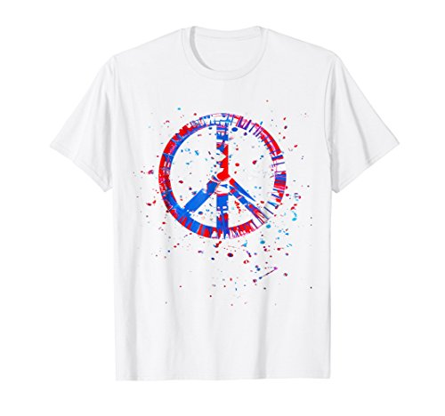 Hippie Tie Dye Peace Sign Red White Blue Patriotic Shirt