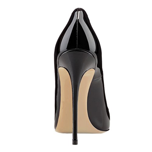 EKS Women's Pumps High Heels Sexy Pointy Toe Dress Party Court Shoes Black-patent WYaLC4EQ5