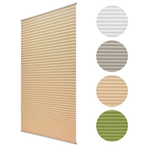 Sol Royal® Plissee SolDecor P25 - 35x120 cm Beige / Creme - Klemm-Fix ohne Bohren - Plissee-Rollo Jalousie für Fenster