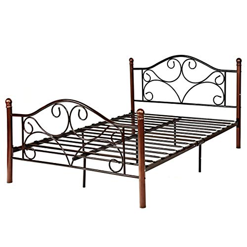Footboard Low - Giantex Full Size Platform Bed Frame 9-Leg Support Mattress Foundation Metal Base Home Bedroom Furniture with Sturdy Metal Slats and Vintage Headboard and Footboard, Chocolate