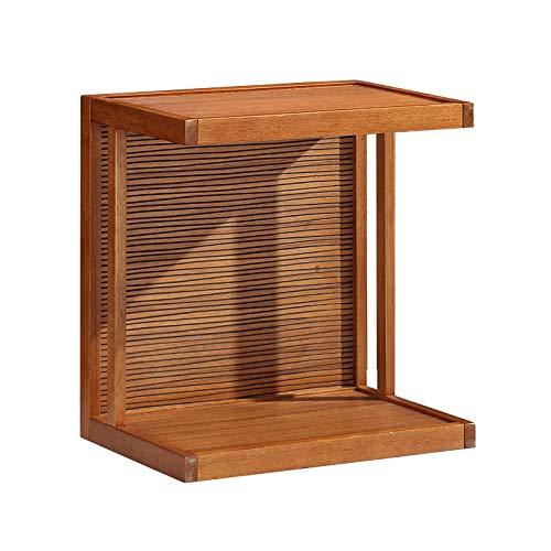 コーヒーテーブルソリッドウッド可動式サイドテーブルソファサイドリビングルームコーナーバルコニーレジャーテーブルに適した車輪付きの小さなデスク B07KQRR5Z8