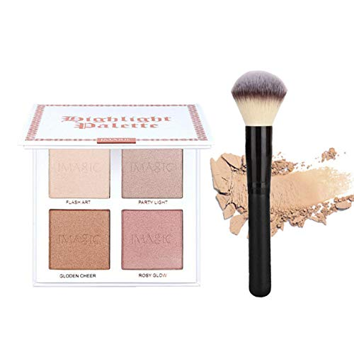CCbeauty 4 Color Highlighter Makeup Palette with Powder Brush Shimmer Bronzers Contour Shadow Illuminating Powder Cosmetic Kit,Pearl (Best Contour Palette For Oily Skin)