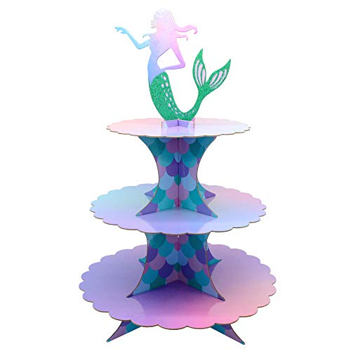 Mermaid Birthday Supplies (Mermaid Cake Stand 3 Tier Mermaid Party Supplies Cupcake Stand Mermaid Party Decortions for Mermaid Theme Party Baby Shower Birthday Party)