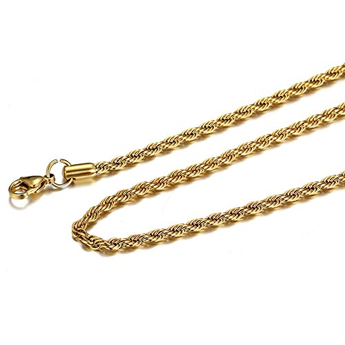 Mens Cuban Curb/Figaro Chain Link Necklace for Pendant Men Women 3mm Hip Hop Men's Punk Jewelry with 20/24/30 inches (Gold (24 inches)) by Elogoog Women jewelry (Image #1)
