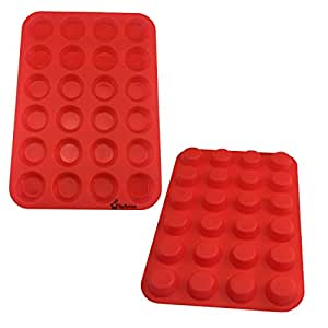Silicone Mini Muffin Pan, SySrion 24 Cup Premium Cupcakes Pan Shapes, Non-stick, BPA-free Food Grade Silicon Mold Material, Red