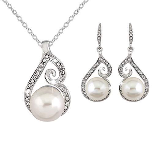 yingyue Fashion Women Faux Rhinestone Inlaid Faux Pearl Pendant Necklace Hook Earrings Set Jewelry Gift