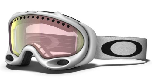 Oakley Unisex-Adult A Frame Snow Goggle (Matte White, VR50 Pink - Oakley White A Frame