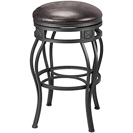 Revel New Monarch 30 Backless Metal Bar Stool Old Steel Finish W Brown Faux Leather Seat 1