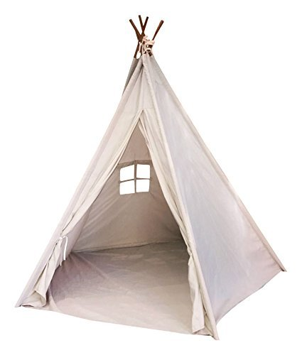 Play Teepee (Indoor TeePee Tent - 6 Foot Tall Classic Indian Play Tent for Kids with Five Wood Poles and Carry Bag - Five-Sided Walls with Door, Window and)
