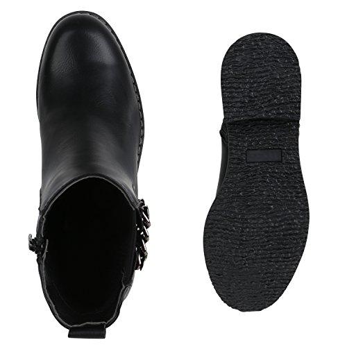 Stiefelparadies Damen Stiefeletten Chelsea Boots Leder-Optik Schuhe Schleifen Flandell Schwarz Cabanas