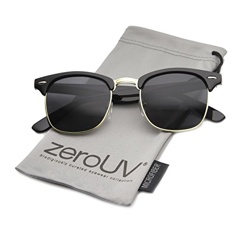 zeroUV - Premium Half Frame Horn Rimmed Sunglasses with Metal Rivets (Classic Series  Black-Gold  Smoke)