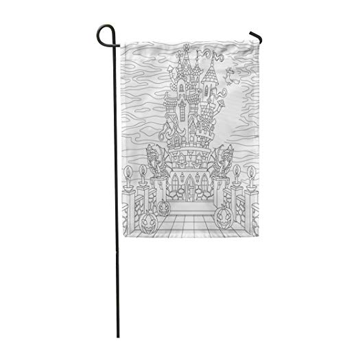 Tarolo Decoration Flag Halloween Coloring Page Spooky Castle Pumpkins Witch Gothic Statues of Dragons Full Moon Silhouette Freehand Sketch Thick Fabric Double Sided Home Garden Flag 12