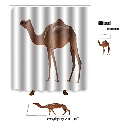 vanfan bath sets with Polyester rugs and shower curtain arabian camel isolated on white background 34 shower curtains sets bathroom 72 x 108 inches&31.5 x 19.7 inches(Free 1 towel and 12 hooks)