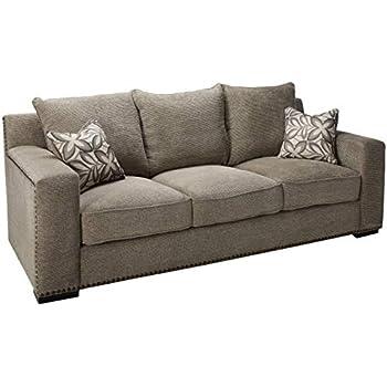 Amazon Com Acme Ushury Gray Chenille Sofa With 2 Pillows
