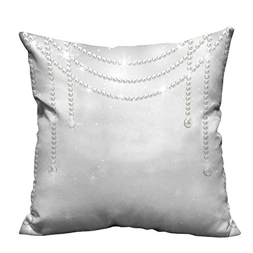 Household Pillowcase Gray Background with Pearl Necklace Perfect for Travel 17.5x17.5 inch(Double-Sided Printing)