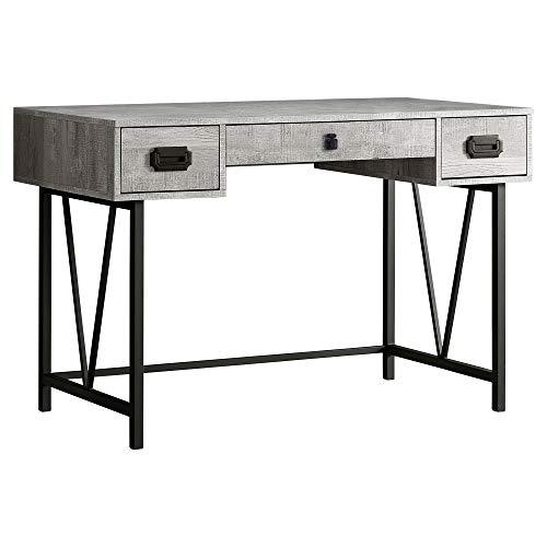 Monarch Specialties 3-Drawer Computer Desk, Black/Gray