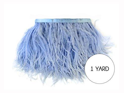 Moonlight Feather | 1 Yard - Light Blue Ostrich Fringe Trim Wholesale Feather (Bulk) Prom Halloween Costume Dress -