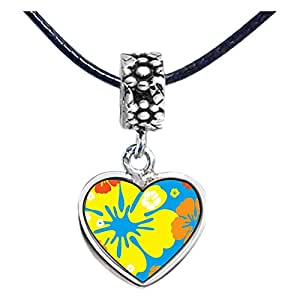 Chicforest Silver Plated Yellow And Orange Photo Flower Head Dangle Heart Charm Beads Fits Pandora Charm Bracelet